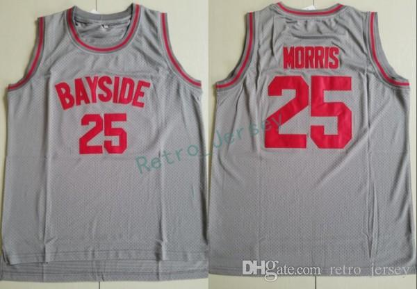 Men s 2018 New  25 Zack Morris BAYSIDE Grey Movie College Jersey Basketball  Jerseys Sport Uniform Embroidery Jersey Basketball Jerseys Online with ... 859a1708c