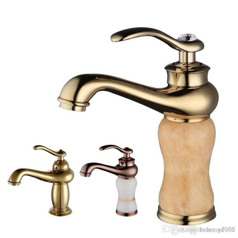 Golden Hot Cold Water Tap Bathroom Sink Faucets Copper Bath Showers