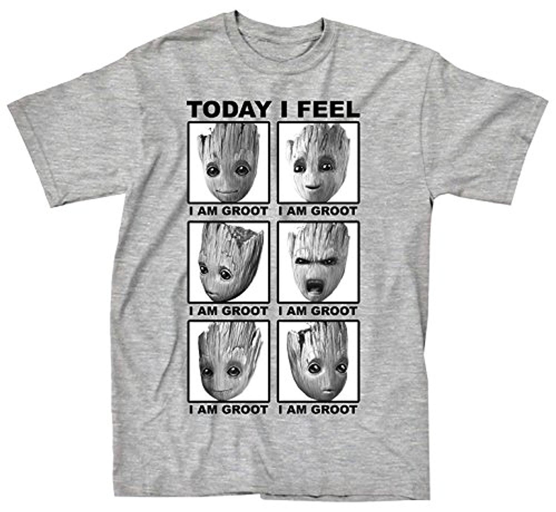 b7883cab57 Compre Guardiões Da Galáxia 2 Rosto De Groot Eu Sinto T Shirt Moda O  Pescoço Camisas De Manga Curta T Verão Engraçado Solto Punk Camiseta Para  Homens De ...