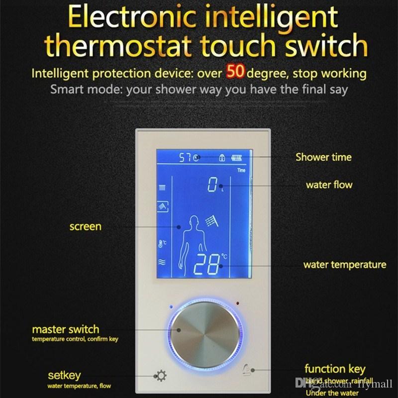 Termostática Digital Set Controlador de Toque Painel de Controle de Toque Estilo Europeu Moderno SUS304 Rainfall Banheiro Led Chuveiro de Teto