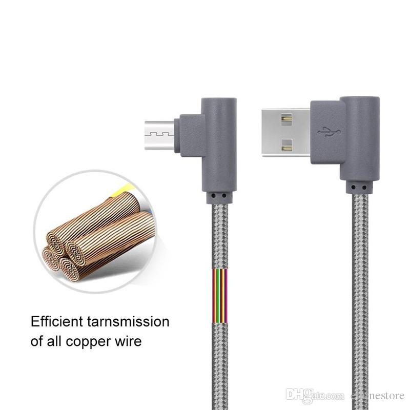 0.25m/1m/2m/3m Braided Micro USB 90 Degree Angled Fast Data Sync Charger Cable Adapter For Huawei P8 Lite 2017 For Samsung S6 S7