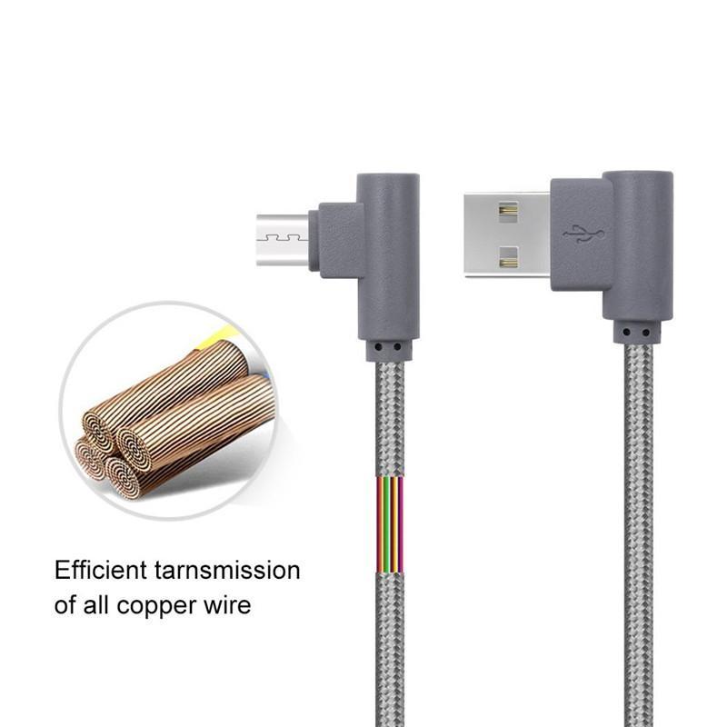 1m / 3.28FT 90 graus Ângulo direito Mirco / Tipo C cabo USB Nylon BirAided L Shape USB Dados Sincronização de Dados Carregando o carregador de cabo de fio