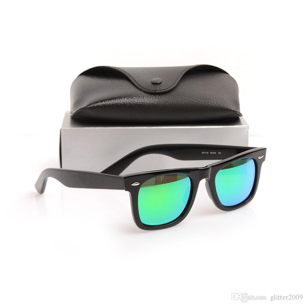 Top quality Plank sunglasses glass lens men sun glasses Color lens New glasses Brand womens sunglasses Mirror unisex Glasses with cases boxs