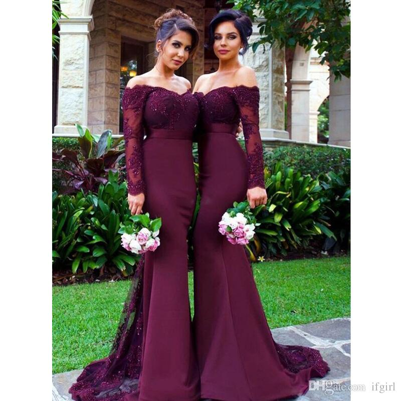 ab14c2fa82 2018 Purple Off Shoulder Mermaid Bridesmaid Dresses Sweetheart Long Sleeve  Appliques Lace Beads Court Train Prom Dresses Evening Gowns