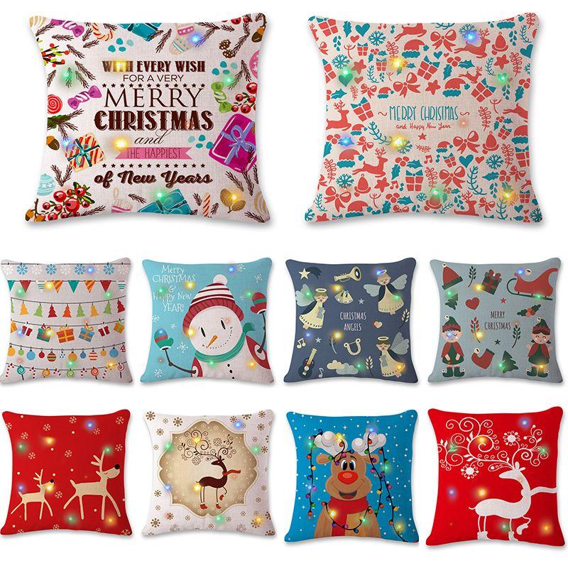 Christmas Pillowcase LED Flash Christmas Pillow Case 40 Styles Santa Best Cheap Decorative Pillows Under 10
