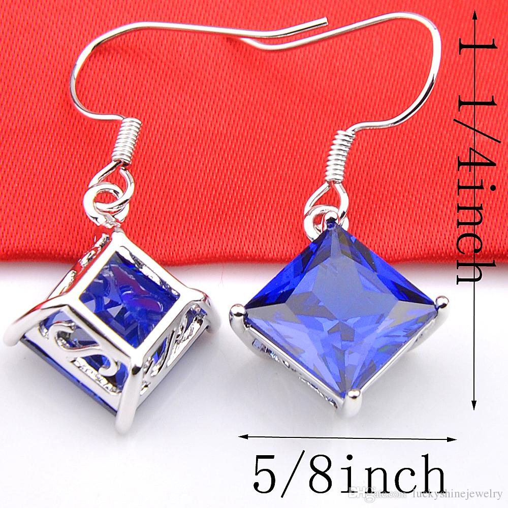 10Prs Luckyshine Classic Dazzling Fire Square Mystic Blue Topaz Cubic Zirconia Gemstone Silver Dangle Earrings for Holiday Wedding Party