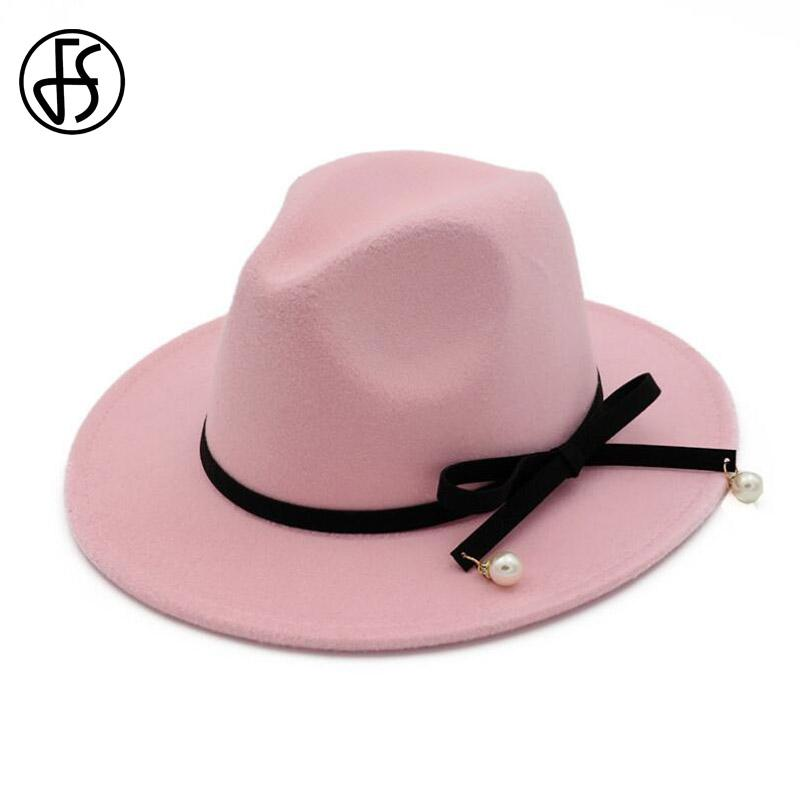 0fb4a1183b8e1 2019 FS Elegant Wide Brim Winter Hats For Women British Style Black Bowknot  Felt Trilby Hat Jazz Vintage Wool Fedoras Chapeu Feminino From Naughtie