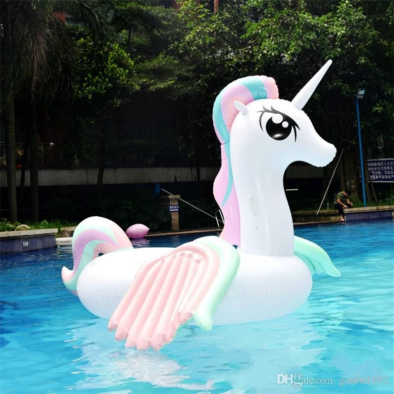 Hot Sale Originality Water Inflatable Double Wing Unicorn Mat Toy Summer Swimming Suplies Funny Game Beach Floating Row 100hm W