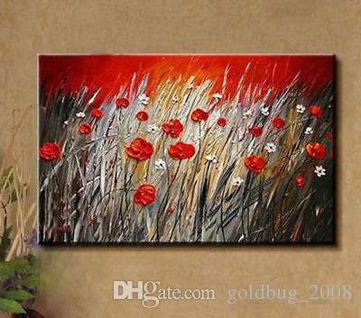 Hand-painted Modern Wall Decor Art Oil Painting on Canvas,Red FlowerNo Frame