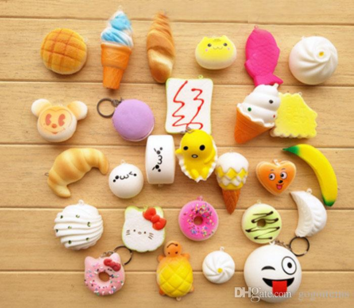 /pack Squishies Slow Rising Squishy random sweetmeats ice cream cake bread Strawberry Bread Charm Phone Straps Soft Fruit Kids Toys