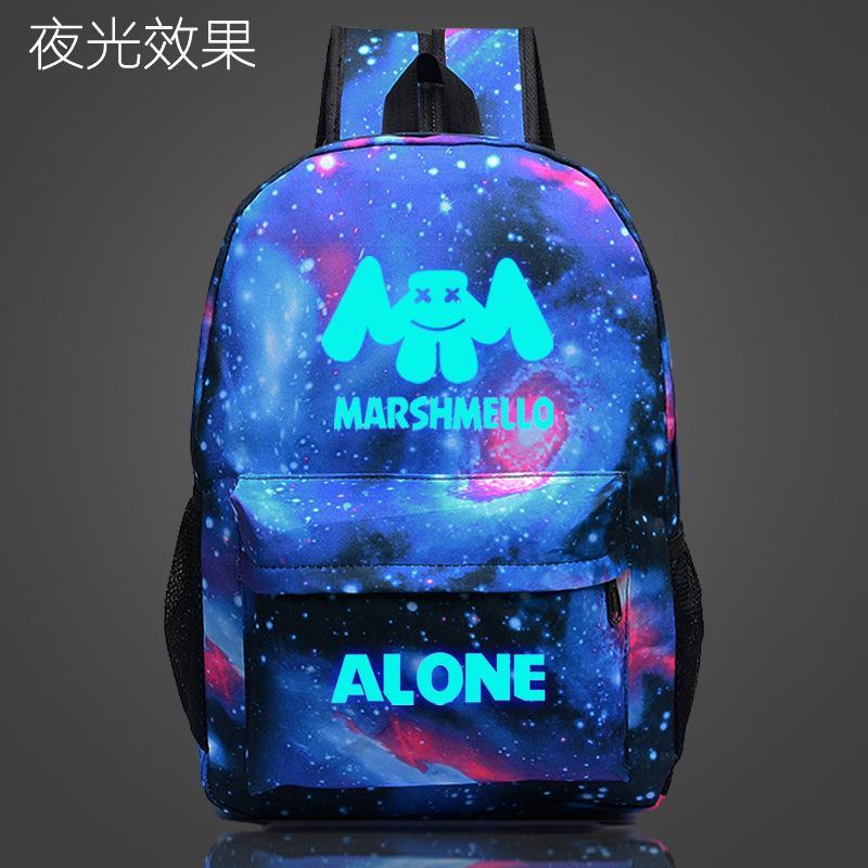 Marshmello Alone Dj School Bag Noctilucous Luminous Backpack Student