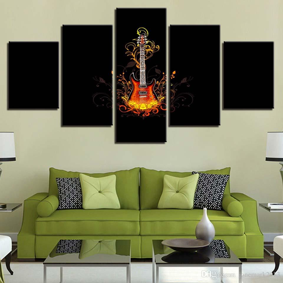 HD Canvas Living Room Frame Home Decor Modern 5 Panel Musical Instruments Guitars Printed Pictures Wall Art Poster Painting