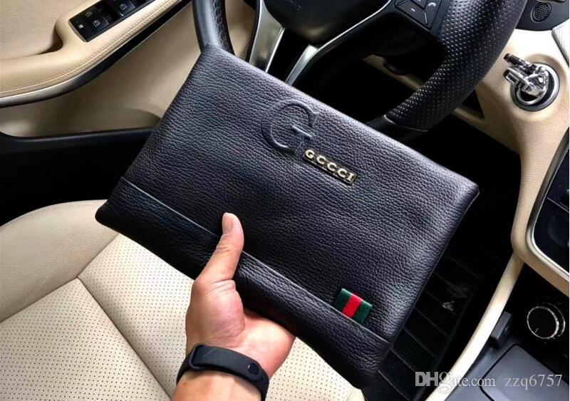 New fashion designer men clutch bag Italy top lychee leather clutch K33038 zipper black square leather bag