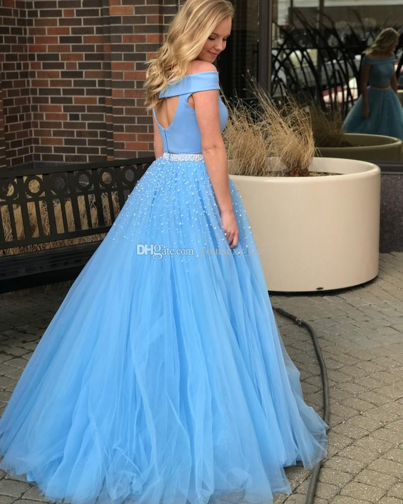 Ball Gown Two Piece Prom Dresses Off The Shoulder Satin Tulle Pearls Floor Length Light Blue Party Dresses