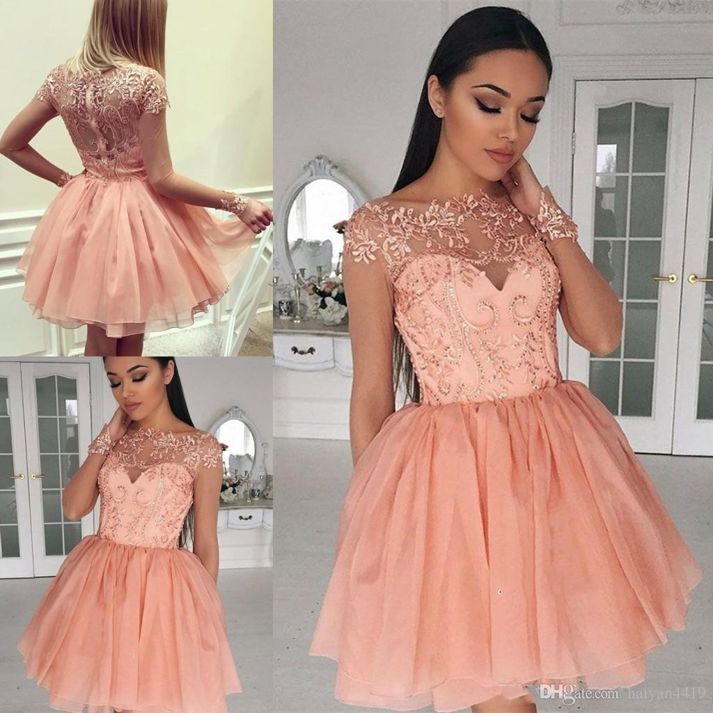 5e5e1c1d98f 2018 Short Mini A Line Peach Homecoming Dresses Crew Neck Lace Applique  Illusion Long Sleeves Tiered For Junior Cocktail Party Prom Gowns  Homecoming Dresses ...