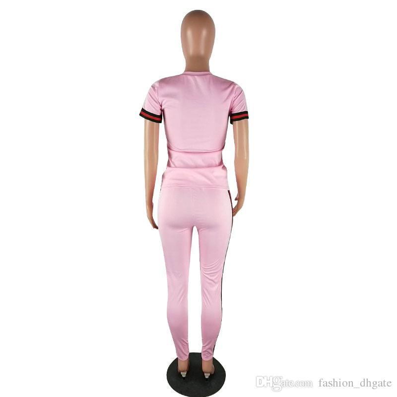 Großhandel Sommer Frauen Trainingsanzüge Zweiteilige Sätze Seitenstreifen Casual Crop Top und Lange Hosen Damen Sweat Suits Jogger Freizeit Anzug Neueste