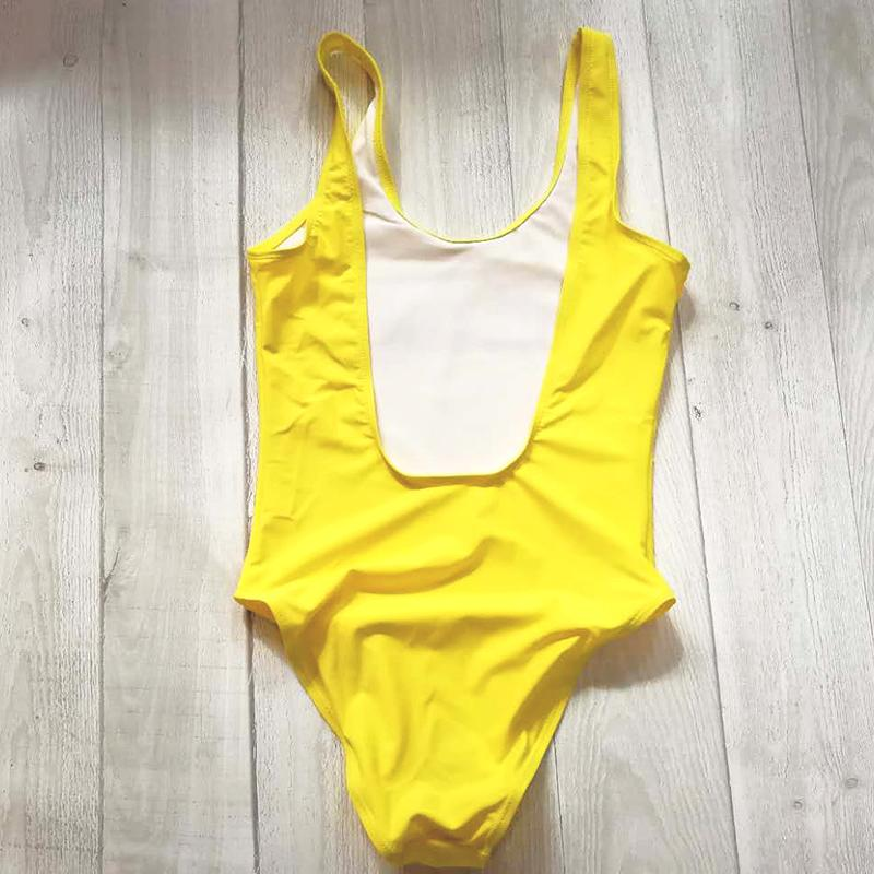 Pure Color One Piece Swimsuit Bikini Women Swimwear High Cut Monokini Bodysuit Pink Yellow Black White Blue Purple Bathing Suit