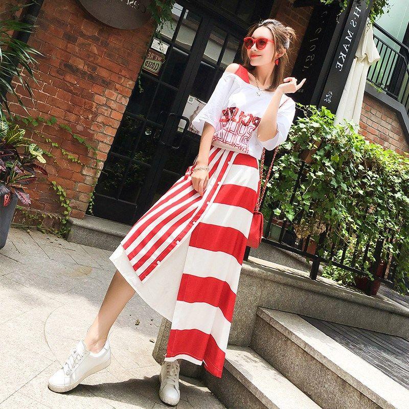 615fa8d3d4db 2019 Two Piece Set 2018 New Summer Asymmetrical Midi Skirts White O Neck  Short Sleeve Casual T Shirt Striped Women Set From Baiqian, $59.49 |  DHgate.Com