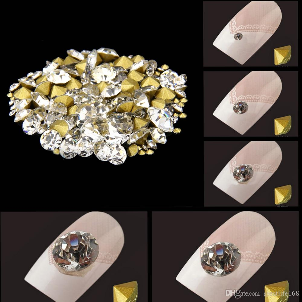 Shiny Glass Rhinestones Crystal Color Mini Pointback Crystal Stones Loose  Strass Bead DIY Nail Art Decoration Pointback Glass Nail Art Decoration  Online ... fe5a3ddbf9a9