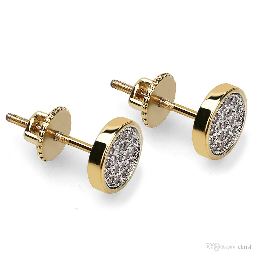 Men's Gold Silver Two Tone 14MM Round Micro Pave CZ Screw Back Iced Out Stud Earrings