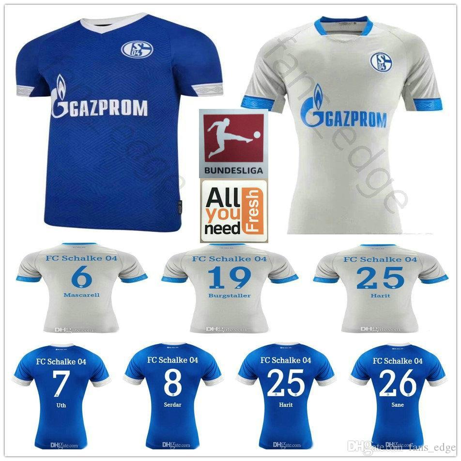 75507f40795 18 19 Schalke 04 Soccer Jerseys 19 BURGSTALLER 7 UTH 6 Mascarell 25 ...