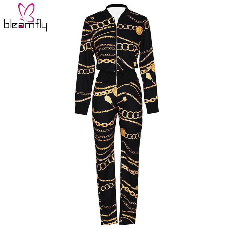 e30af9c70c 2017 Winter Women Jacket+Pants 2 Piece Set Gold Chain Print Tracksuit  Female Outfit Sporting Suit Crop Top Zipper Sweatsuit