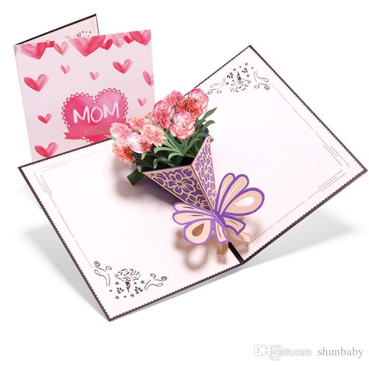 Mother's Day Greeting Card 3D Three-dimensional Bouquet Of Carnations Holiday Greetings Birthday Creative Handmade Card with envelope