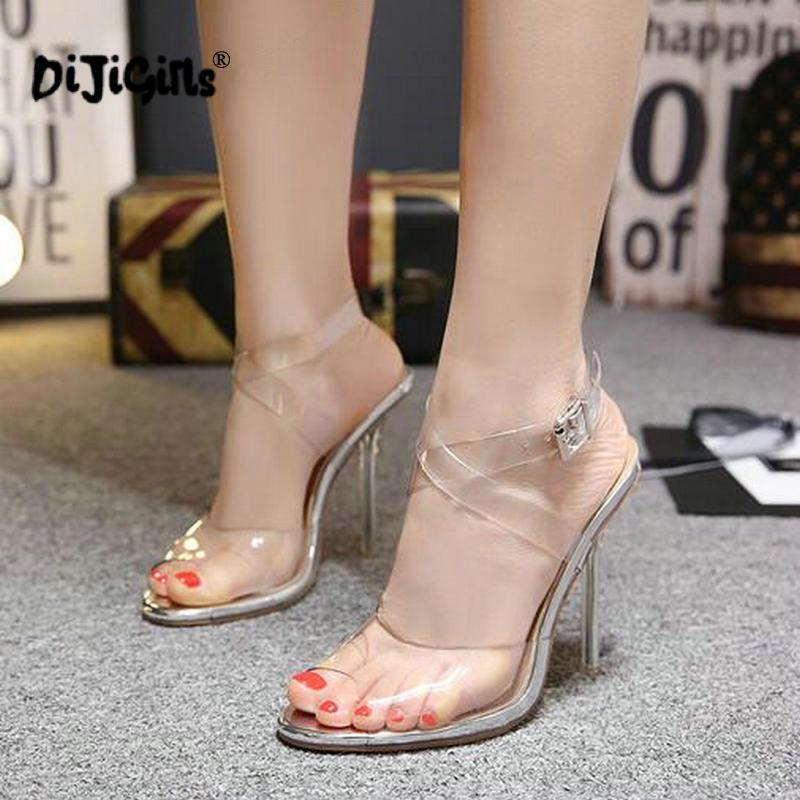 dc7eaea4d52a Dropship Women PVC Transparent Clear Stiletto Thin Heels Closed Toe Ankle  Strap Slingback Sandals Silver Sexy Evening Wedding Flat Shoes Online  Clothes ...