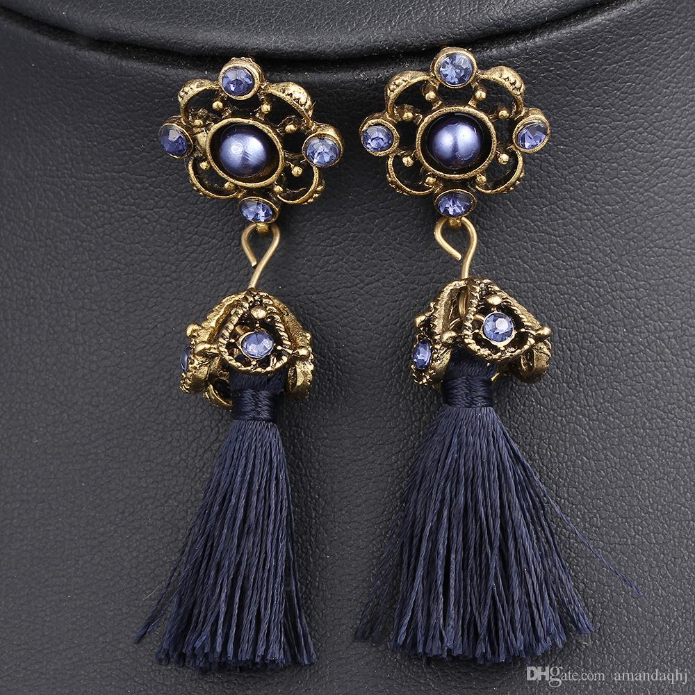 2019 Spring National Style Return To The Ancients Handwork Crystal Long Tassel Earrings For Women Brand New Hot Sale Fashion