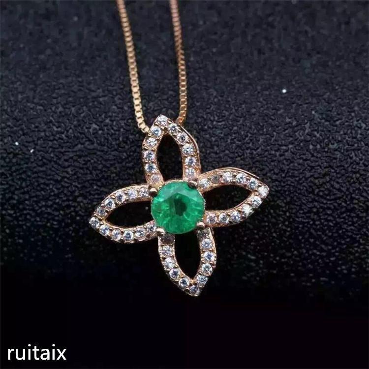 3789e24c7887 Compre Joyas KJJEAXCMY S925 Collar De Esmeralda Natural De Plata Pura Con  Incrustaciones De Joyería De Cumpleaños Para Mujer Joya Colgante Crisantemo  A ...