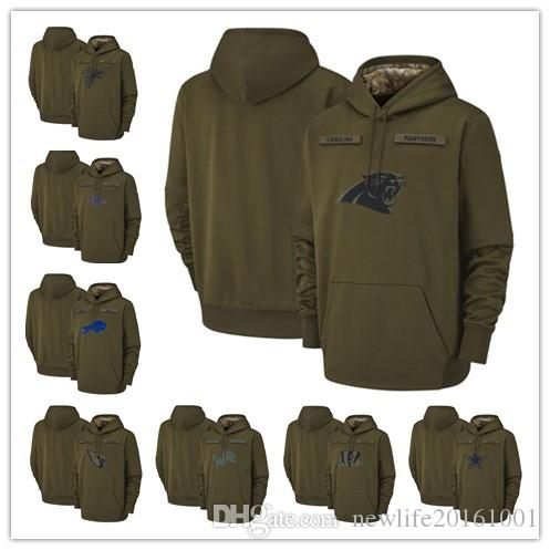 5ce6e4e20 2019 Arizona Cardinals Atlanta Falcons Baltimore Ravens Buffalo Bills  Carolina Panthers Lions 2018 Olive Salute To Service Pullover Hoodies From  ...
