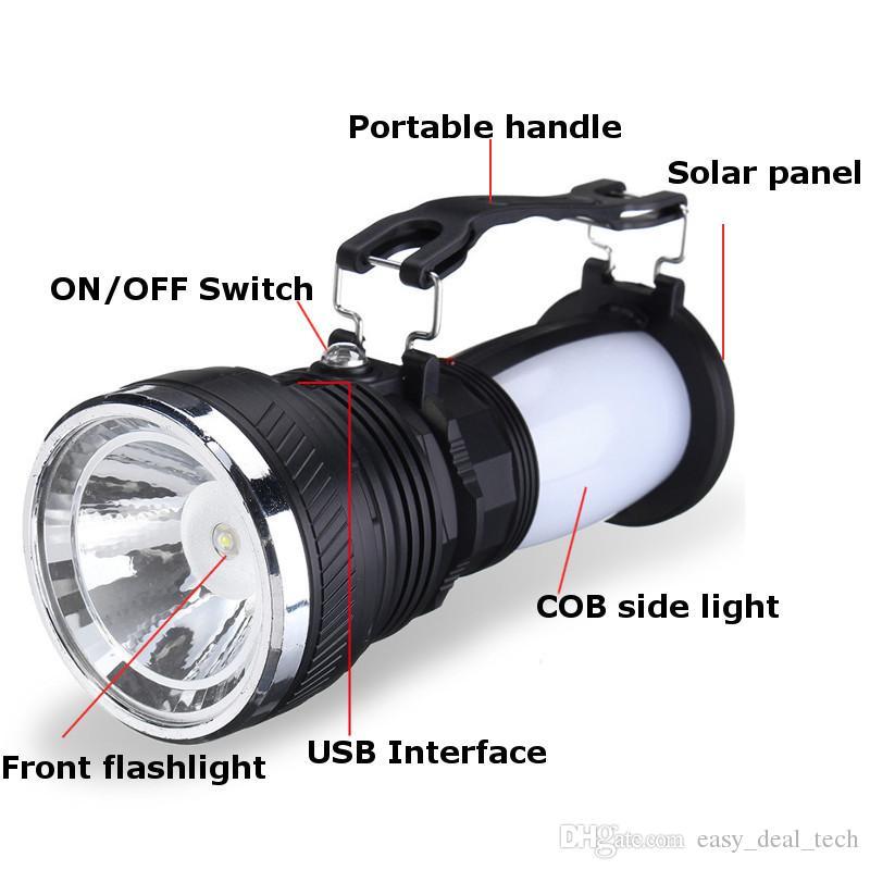 LED Portable lanternes lumière solaire batterie rechargeable lampe de poche LED tente de camping Lanterne lampe Camping Q0436