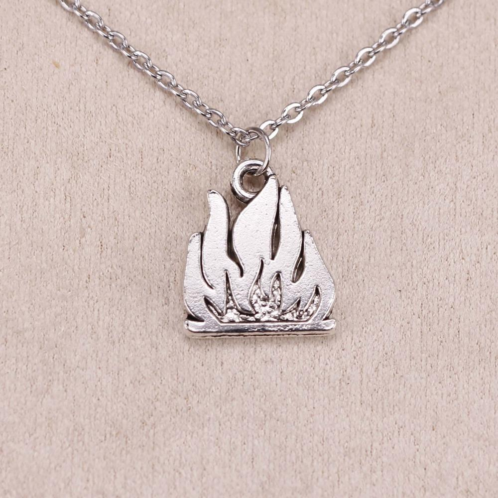 cd7a8acb5 2019 New Fashion Silver Pendant Flames Fire 15*18mm Necklace Women  Exquisite Choker Necklace Jewelry From Yuijin, $33.16 | DHgate.Com