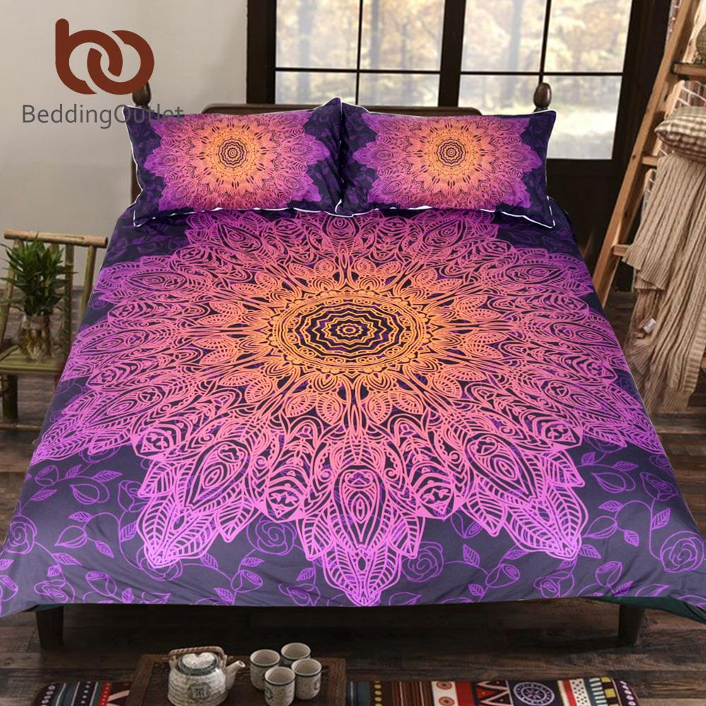 f58f4707f6 Compre Atacado BeddingOutlet Bohemian Flower Bedding Set Gradiente Mandala  Roxo Quilt Cover Set King Size Textiles Início Drop Ship De Griffith