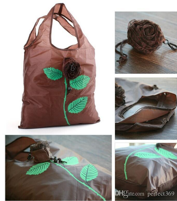 Hot New Doce cor Pretty Rose Dobrável Eco Reutilizáveis Sacos de Compras Ambientais 38 * 58 cm frete grátis