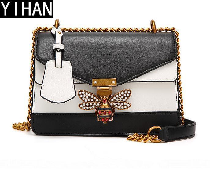 12aa9152b501 Factory Independent Brand Handbag Fashion Hit Color Bee Woman Chain Bag  Elegant Hit Color Leather Messenger Shoulder Bag Trend Leather Clutc Brand  Handbag ...