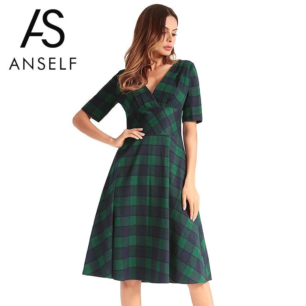 9879bfb4b61b 2019 Anself Fashion Women Plaid Checked Midi Dress V Neck Short ...
