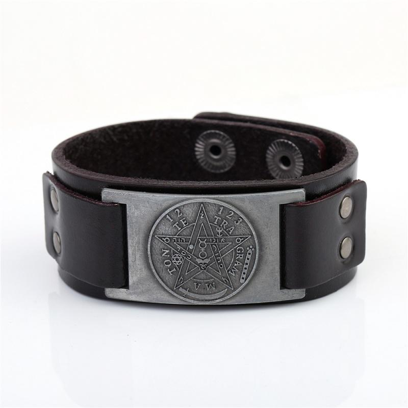 Love Symbol Amulet Viking Leather Wristband Bracelet Viking Odin