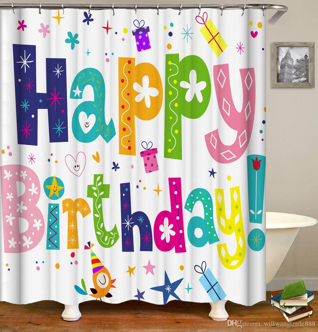 2018 waterproof flowers happy birthday cakes and candles shower 2018 waterproof flowers happy birthday cakes and candles shower curtain digital printing bath curtain with rings 71x71inch from willwangtrade888 izmirmasajfo
