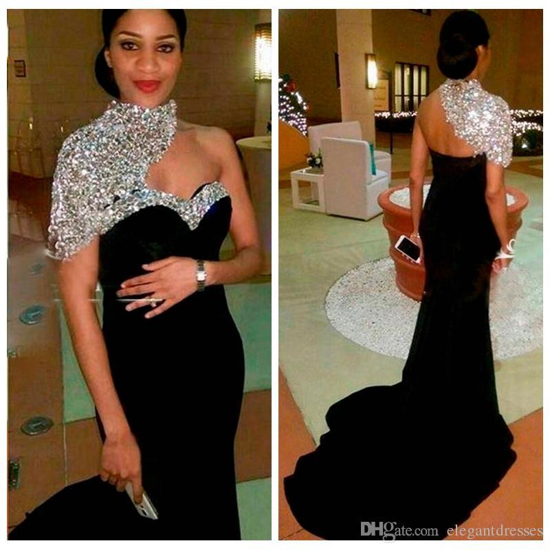 2018 Bling Bling Elegant Black Long Mermaid Evening Dresses High Neck Crystal Beaded Short Sleeves Women Crystal Beaded Formal Prom Gowns