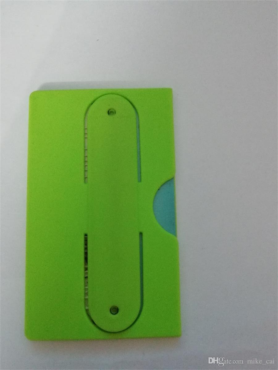 OEM LOGO 3M sticker side of the mouth opening cell phone sticker card holder Silicone Back Stick Wallet Mobile Phone Card Holder