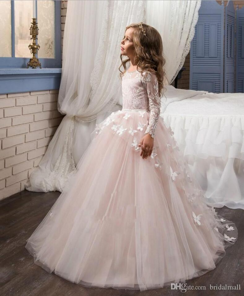 2018 Blush Lace Long Sleeves Ball Gown Flower Girls Dresses Full Butterfly Kids Pageant Gowns Little Girl Birthday Party Communion Dresses