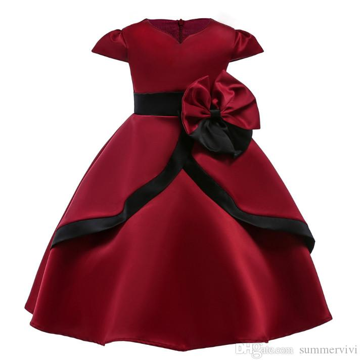 8c417a960c9d Girls Dress Fashion New Children Wine Red Chirstmas Party Dresses ...