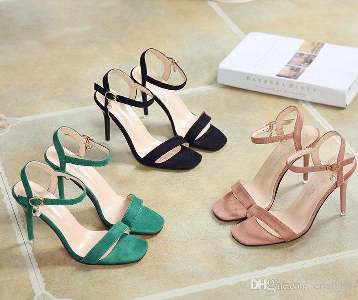 7acc72484f9 2018 Hot Sale New Fashion Simple Buckle High Heels Frosted Open Toe  Stiletto Ladies High Heels Temperament Elegant Brown Shoes Strappy Heels  From Cristalle