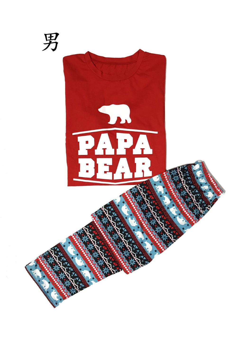2017 Christmas Happy Bear Family Matching Outfits Pajamas for Father Mother Daughter Son Family Matching Look Clothes Set