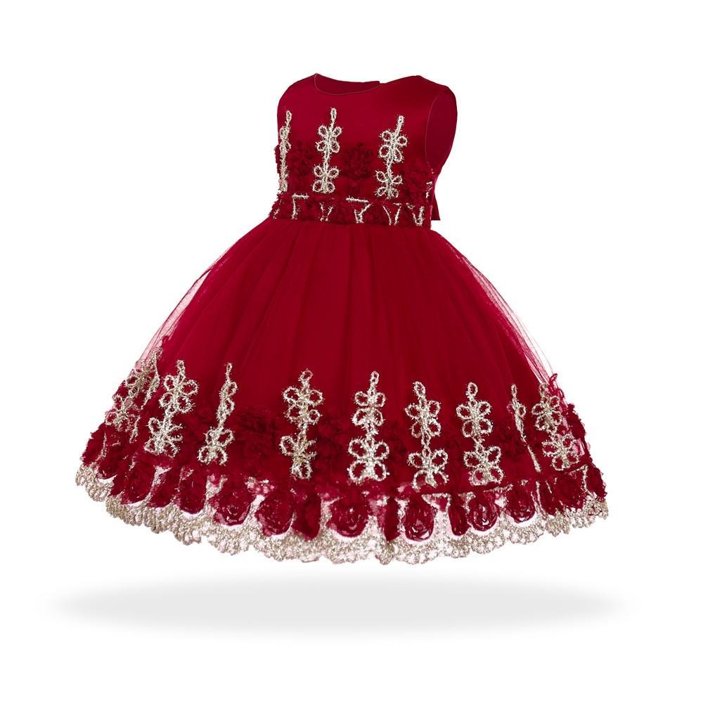 908205c8696d3 Acheter Livraison Gratuite Coton Doublure Fleurs Robes Pour Bébés 2018  Nouvelle Arrivée Bébé Robe Pour 1 An Fille Anniversaire Bambin Robe De  Baptême De ...
