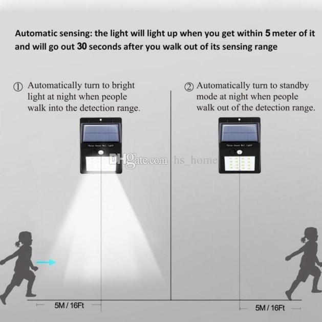 2018 Nueva inducción automática inducción solar por infrarrojos jardín luces LED Luz solar adecuada Carga de 1 vez puede funcionar de forma continua durante 3-4 días