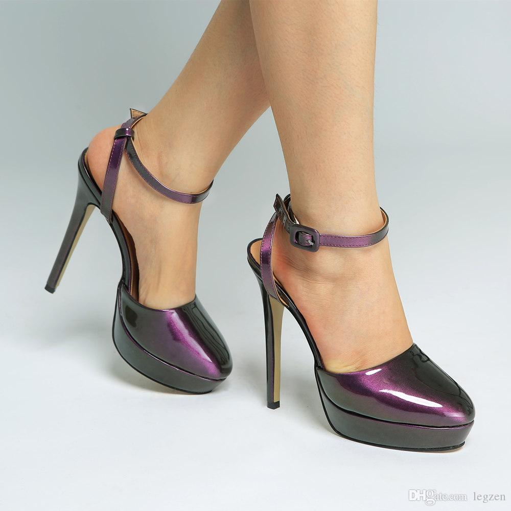 online here pre order official photos Legzen New High Quality Sandals Sexy Platform Round Toe Thin High Heels  Sandals Beautiful Purple Party Shoes for Woman US Size 4-15
