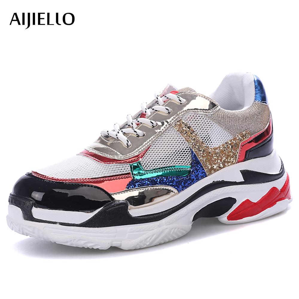 2018 Autumn Girl New Fashion  Shoes Women Glitter Sneakers Cross-tied Sequins Lady Platform Shoes Bling Breathable