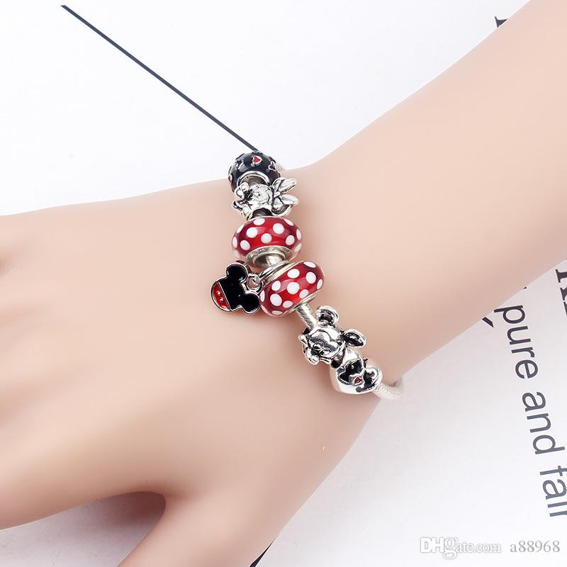 77b9a6204 925 Murano Glass Cartoon Charm Bracelets For Women Crystal Original ...